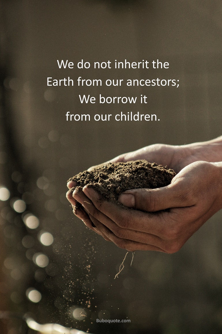 We do not inherit the earth from our ancestors; we borrow it from our children.